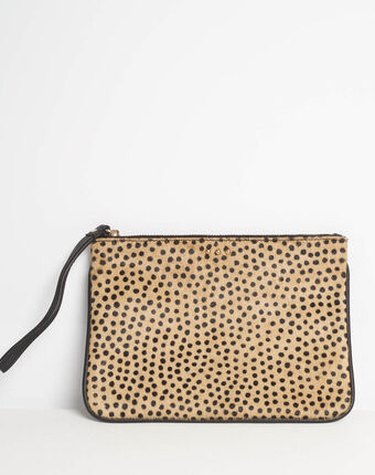 Droopy animal print clutch with leather straps ecru.