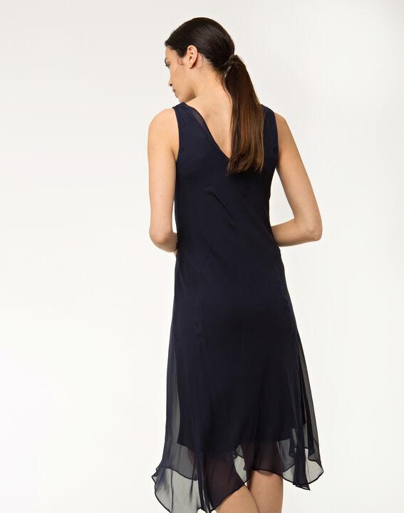 Robe bleue mi-longue en soie Foret (4) - 1-2-3