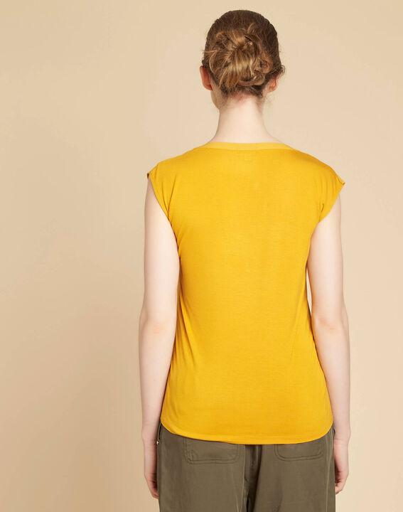 Tee-shirt jaune encolure résille Bianca (4) - 1-2-3