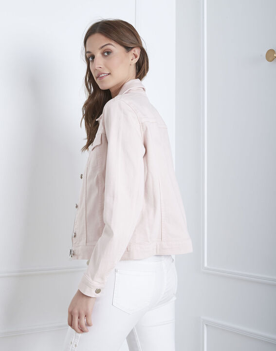 Kurze, puderfarbene Jacke aus Jeansstoff Clem (4) - Maison 123