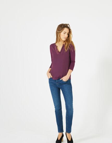 Cassisfarbenes 3/4-Arm-T-Shirt Bianca (2) - 1-2-3