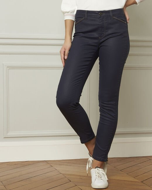Opera navy blue 7/8 length coated jeans (1) - 1-2-3
