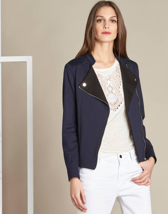 Fan navy shearling-style jacket in Milano (3) - 1-2-3
