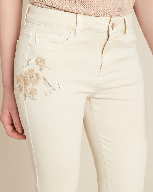 Cremefarbene bestickte Slim Fit-Jeans Vendome (2) - 1-2-3
