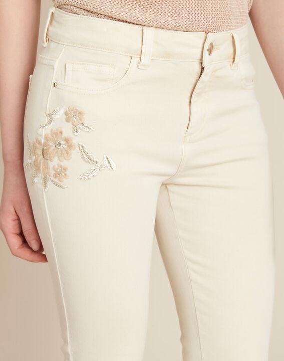 Cremefarbene bestickte Slim Fit-Jeans Vendome PhotoZ | 1-2-3