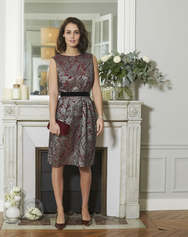 Nocturne Red Jacquard Print Dress (2) - 1-2-3