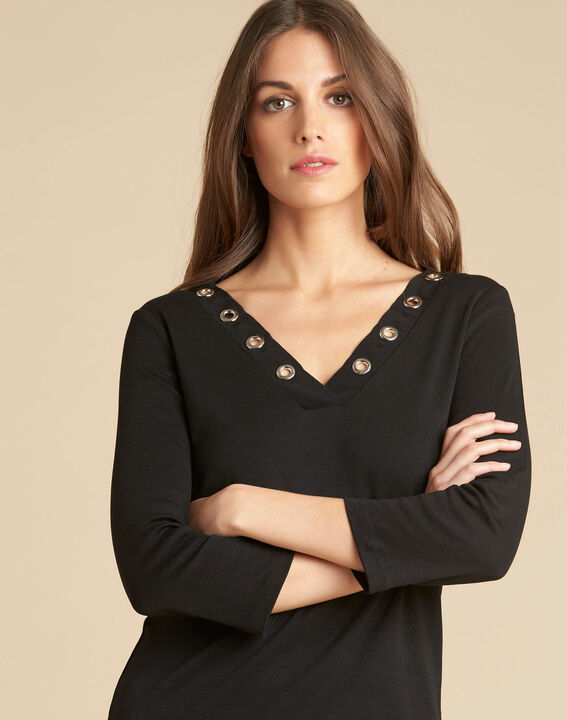 Basic black T-shirt with rounded neckline and eyelets (1) - 1-2-3