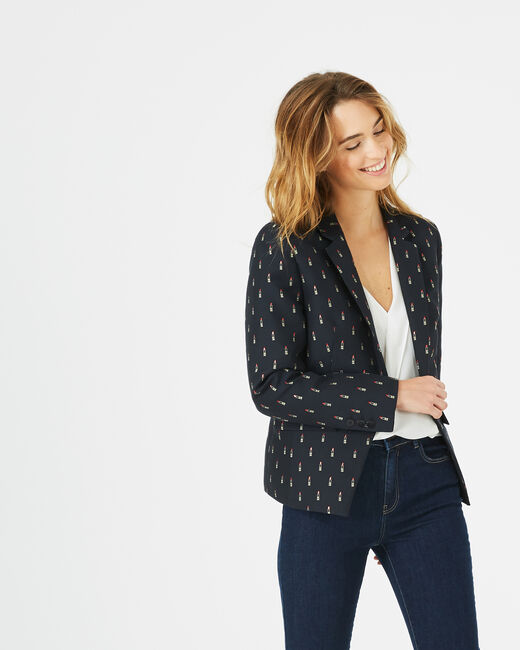 Mirage navy blue tailored jacket with lipstick print (2) - 1-2-3
