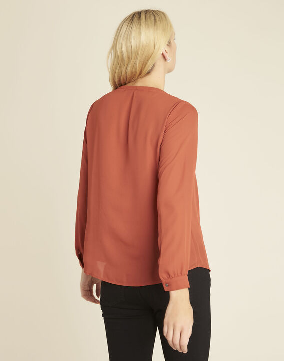 Blouse ocre encolure V Christine (4) - 1-2-3