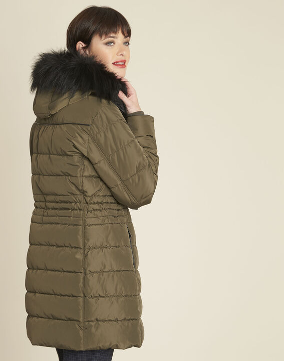 Perrine khaki faux fur hooded down jacket (4) - 1-2-3