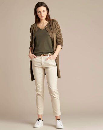 Langer khakifarbener mantel in lammfell-optik fabiana kaki.