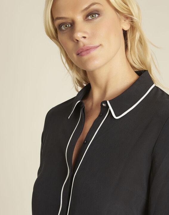 Zwart overhemd van zijde met contrasterende bies Celine (3) - 37653