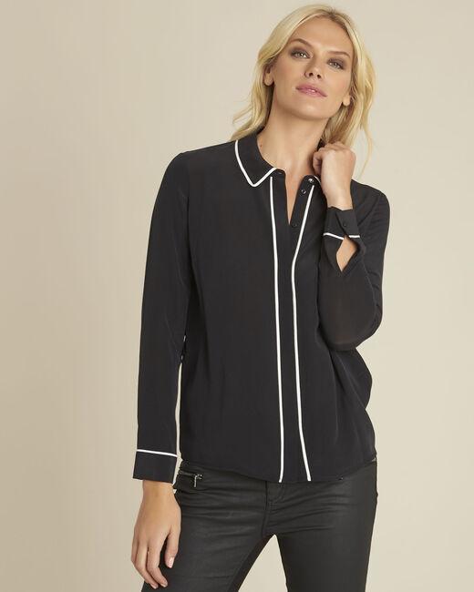 Schwarze Hemdbluse mit kontrastfarbenem Schrägband aus Seide Celine (2) - 1-2-3
