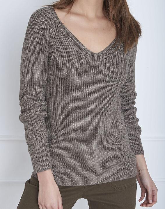 Kakifarbener Pullover aus Lurex-Gewebe Aboukir (3) - Maison 123