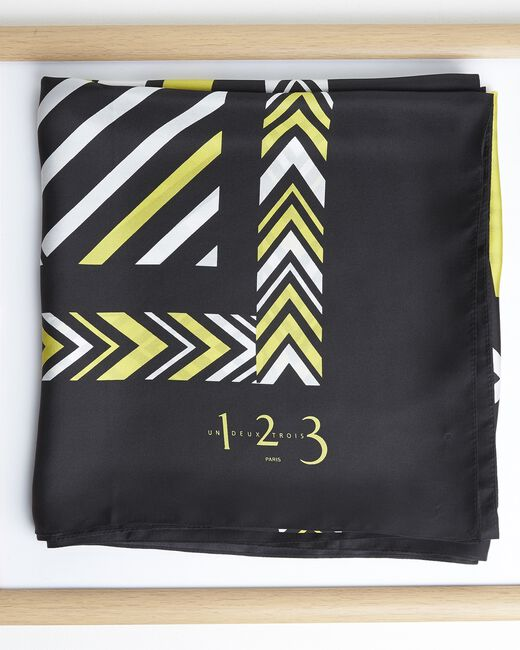 Amadeus yellow graphic printed square scarf in silk (2) - 1-2-3
