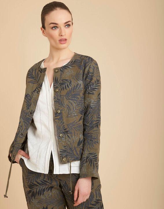 Kurze khakifarbene Jacke mit Palmenprint Fibie (3) - 1-2-3