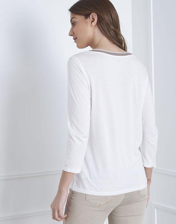 Tee-shirt écru encolure lurex Paillette (4) - Maison 123