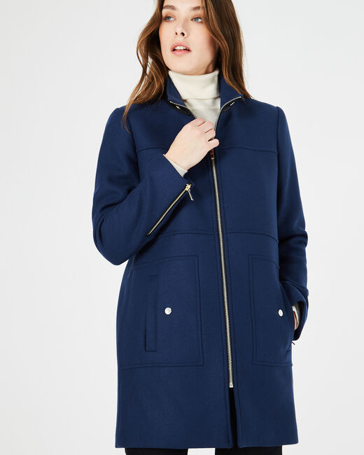 Jackson indigo coat with high collar (1) - 1-2-3