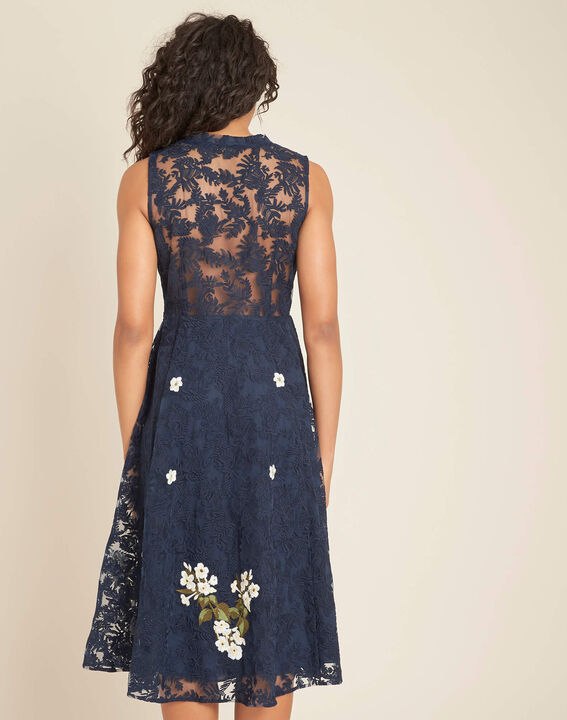 Iris tulle embroidered dress in navy (4) - 1-2-3