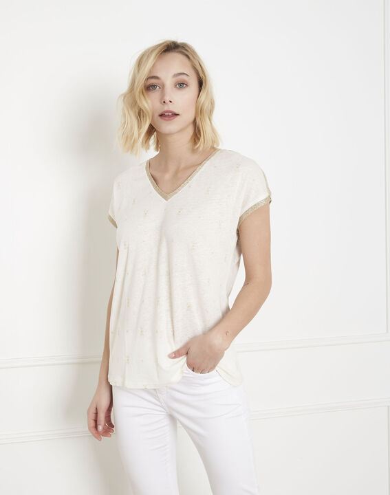 Ecrufarbenes T-Shirt mit Pfau im Lurexprint (1) - Maison 123