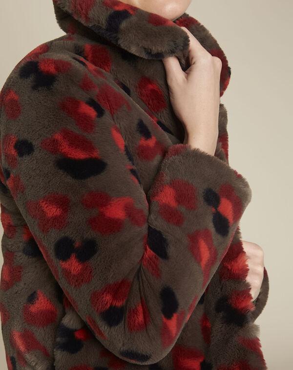 Elfi printed khaki faux fur jacket (2) - 1-2-3