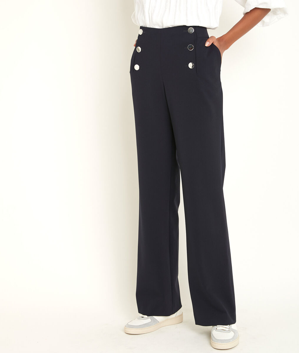 Pantalon à pont en microfibre marine Hubert PhotoZ | 1-2-3