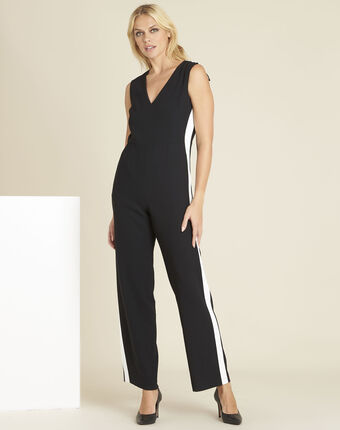 Dorine black crêpe playsuit with lateral bands black/white.