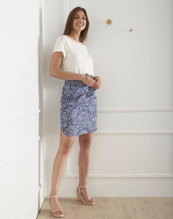 Jupe bleue imprimée fente liquette Suraya PhotoZ   1-2-3