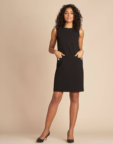 Prisca sleeveless straight-cut black dress (2) - 1-2-3