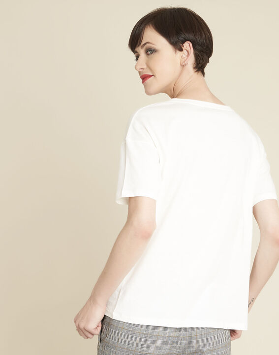 Tee-shirt blanc en coton imprimé Gabrielle (4) - 1-2-3