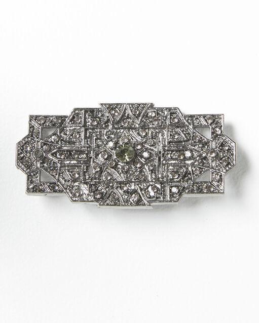 Broche argentée et pierres noires Xian (1) - 1-2-3