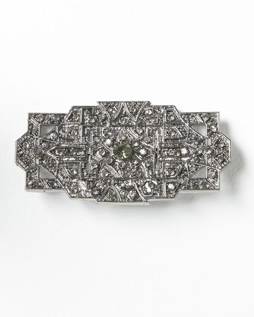 Silberfarbene Blattbrosche und schwarze Steine Xian (1) - 1-2-3