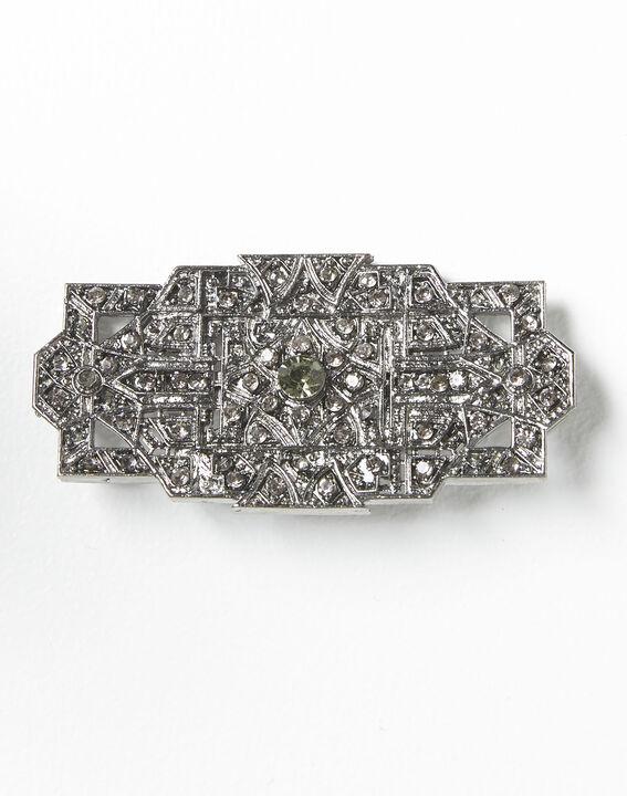 Broche argentée et pierres noires Xian (2) - 1-2-3