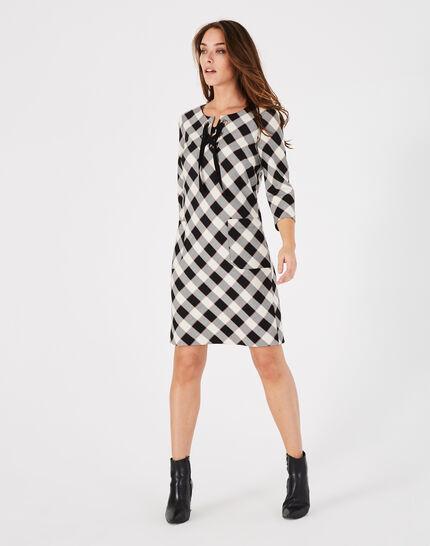 Schwarzes gerade geschnittenes Karo-Kleid Angela (1) - 1-2-3