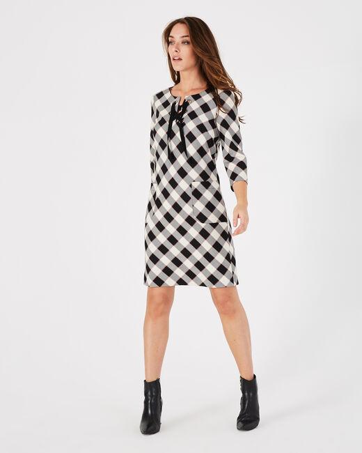 Schwarzes gerade geschnittenes Karo-Kleid Angela (2) - 1-2-3