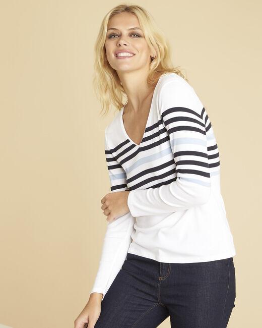 Tee-shirt blanc rayé encolure V Gayure (2) - 1-2-3