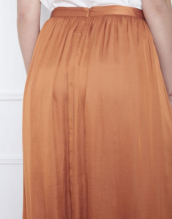 Jupe marron longue plissée effet satin Sissi (4) - Maison 123