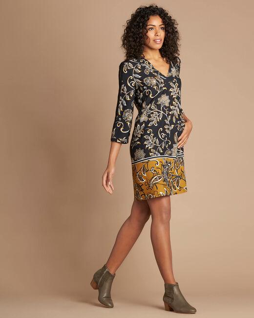 Robe imprimé fleuri camel Petunia (1) - 1-2-3