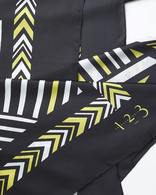 Amadeus yellow graphic printed square scarf in silk (1) - 1-2-3
