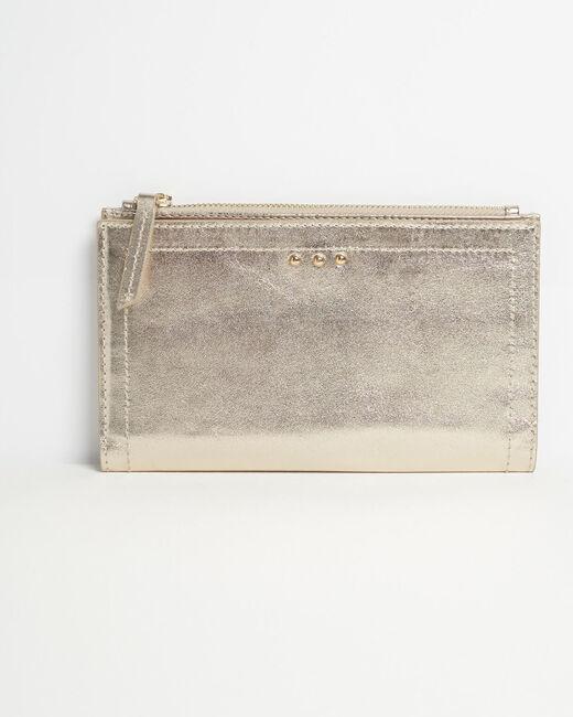 Goldenes Leder-Portemonnaie mit zwei Klappen Dita (1) - 1-2-3