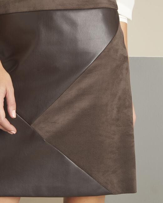 Jupe marron faux cuir trapèze Abby (2) - 1-2-3