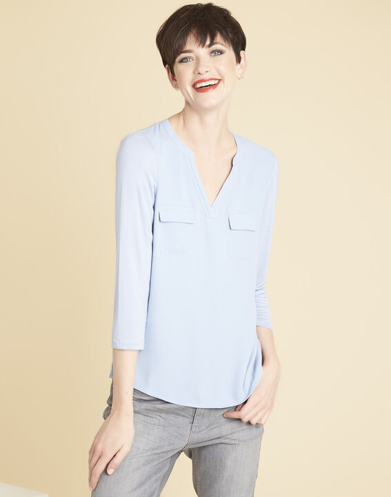 Genna V-neck azure blue dual-fabric blouse (1) - 1-2-3