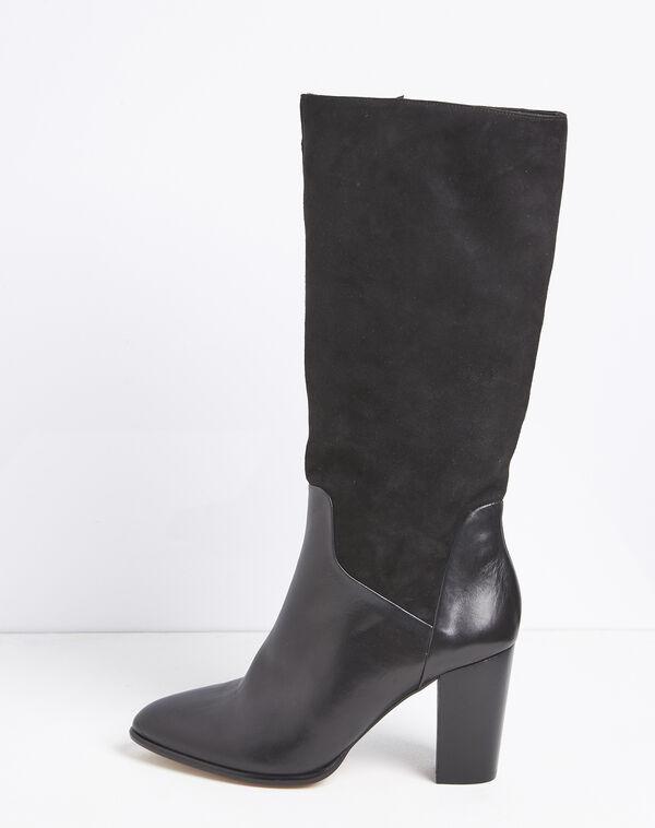 Zwarte leren laarzen met hak van twee soorten materiaal Lucie (1) - 37653