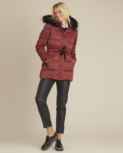 Peggy red hooded down jacket with pull cord (1) - 1-2-3