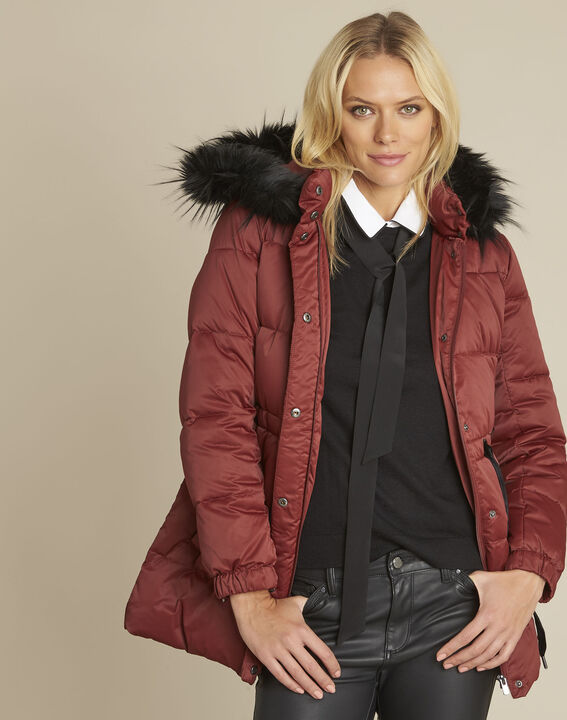 Peggy red hooded down jacket with pull cord (1) - Maison 123