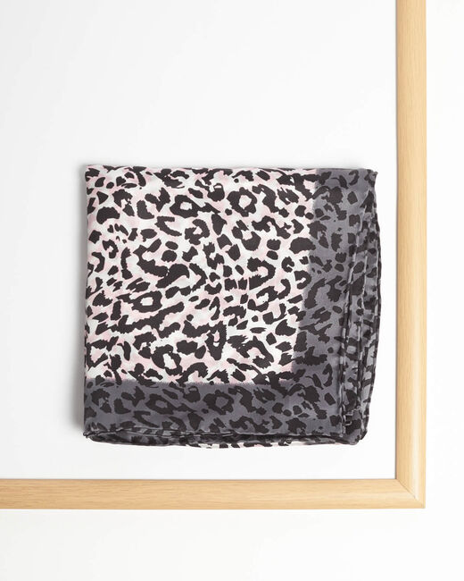 Adoucha leopard print square scarf in pale pink (1) - 1-2-3