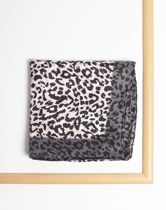 Adoucha leopard print square scarf in pale pink (2) - 1-2-3
