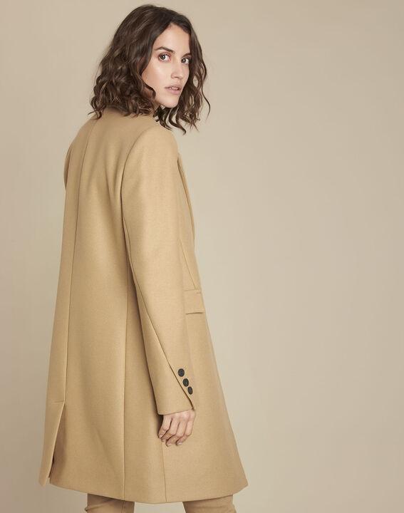 Manteau beige en laine mélangée Plume (4) - 1-2-3