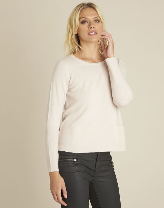 Pull rose cachemire poches Brume PhotoZ | 1-2-3