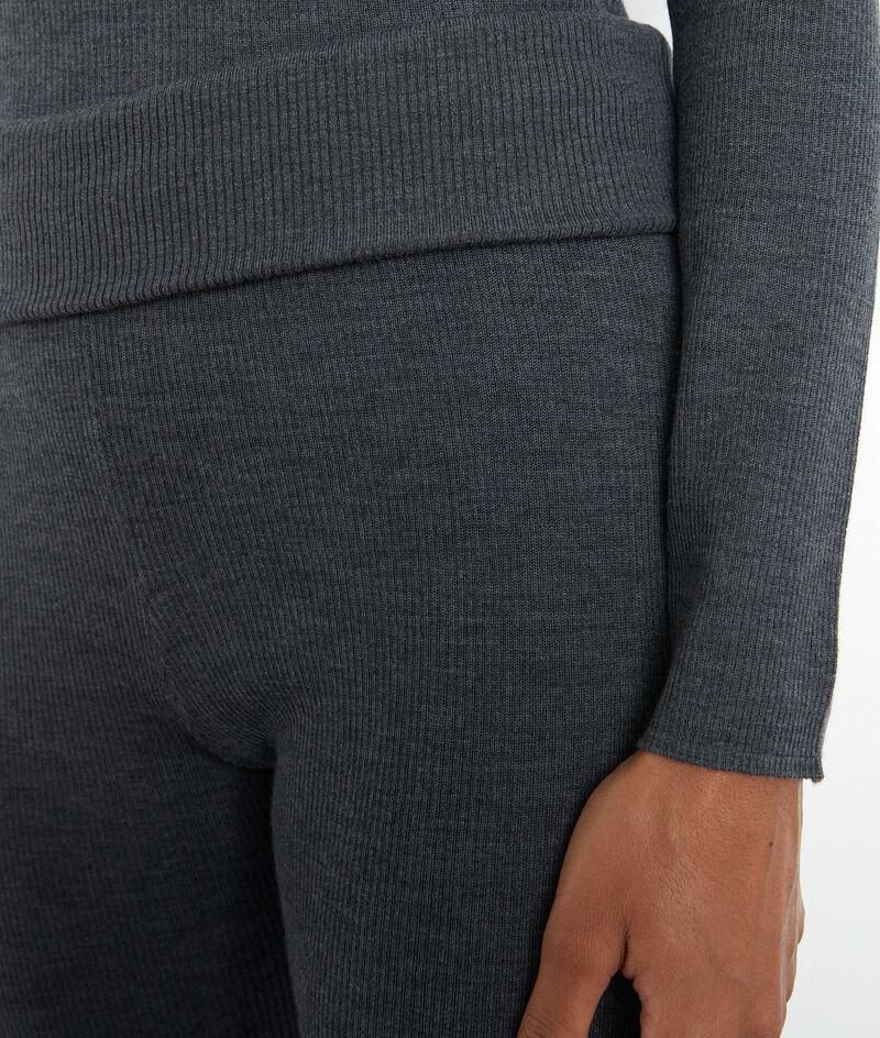 Pantalon style legging en laine côtelée anthracite Theo PhotoZ | 1-2-3